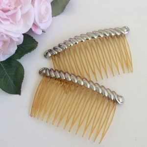 1950's Vintage Silver Hair Combs